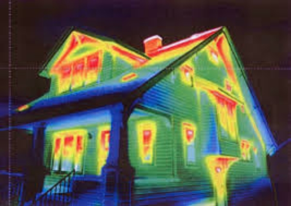 Infrared picture showing heat loss in a home in New Orleans, LA
